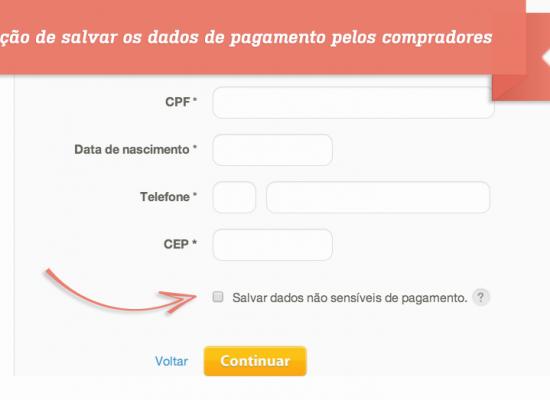 Opção de salvar os dados de pagamento pelos compradores