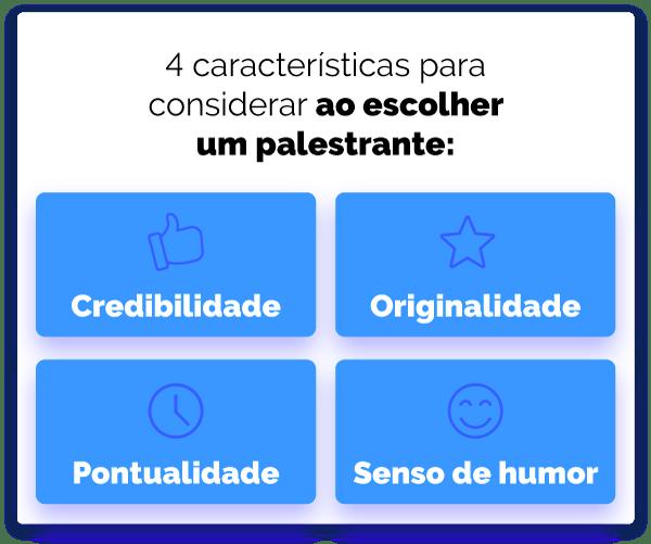 4 características para considerar ao escolher um palestrante: credibilidade, originalidade, pontualidade e senso de humor