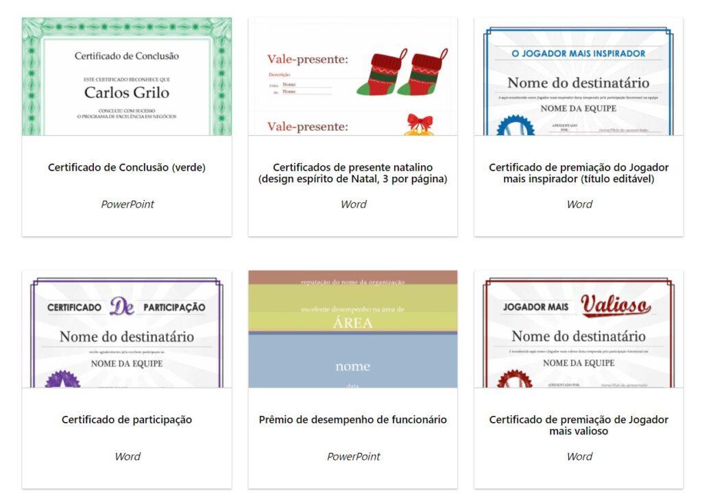 Modelo de certificado Microsoft Office
